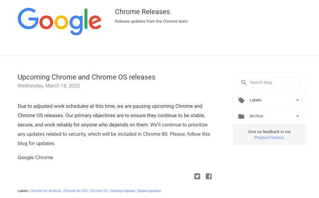 谷歌暂停 Chrome 和 Chrome OS 的版本更新