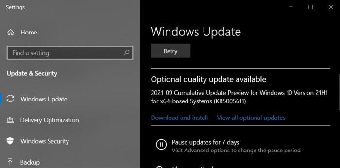 Windows10 KB5005611(21H1)发布 修复一连串错误