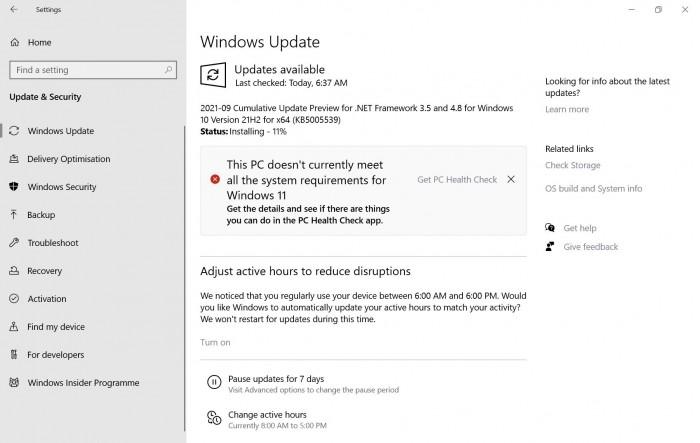 符合Win11升级要求但提示不兼容 微软表示正在修复中