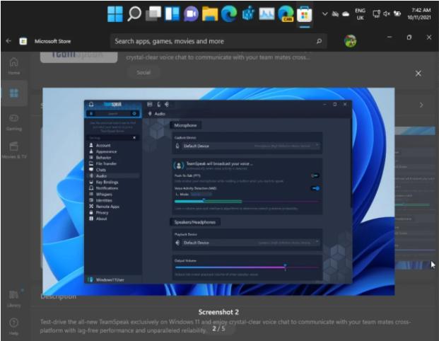 微软Win11新TeamSpeak应用程序上架微软